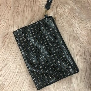Express black leather purse with studs